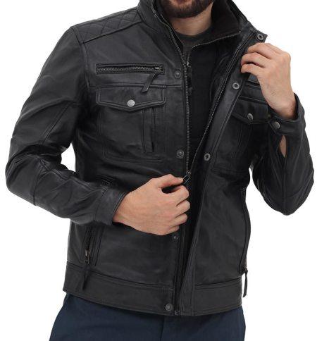 Moffit Mens Black Leather Motorcycle Jacket