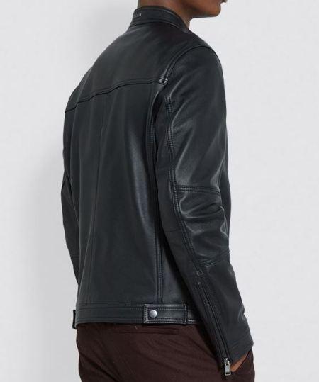 Mens Biker Real Black Leather Jacket