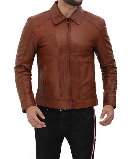 Mens Shirt Collar Brown Lambskin Leather Jacket