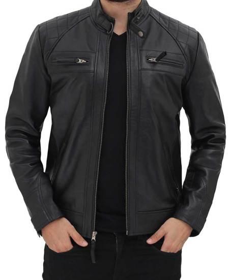 Johnson Black Leather Jacket for Men