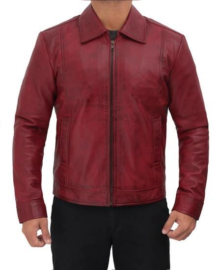 Shirt Collar Distressed Maroon Leather Jacket