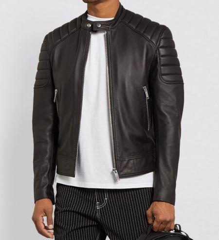 Mens Moto Real Black Leather Jacket