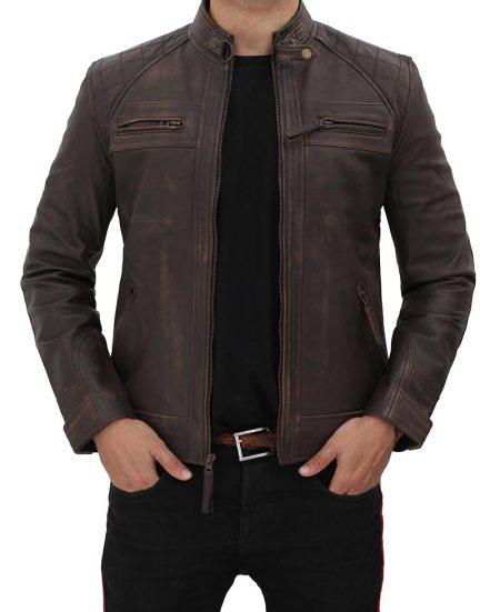 Distressed Quilted Brown Four Pocket Leather Biker Jacket Men