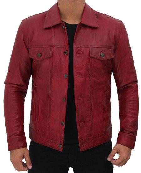 Mens Maroon Leather Trucker Jacket