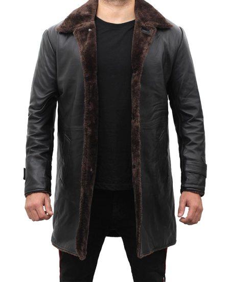 Chandler Mens Shearling Lined 3 4 Length Leather Coat Black
