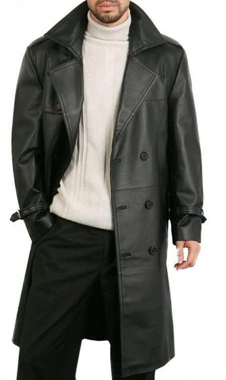 Augusta Double Breasted Black Lambskin Trench Leather Overcoat Mens