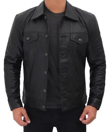 Mens Real Leather Black Trucker Jacket