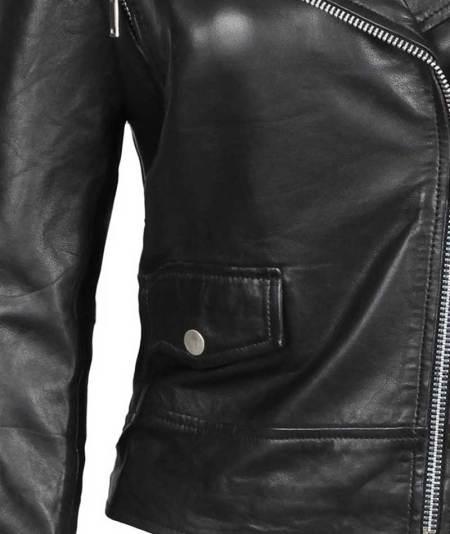 Amber Asymmetrical Moto Black Leather Jacket