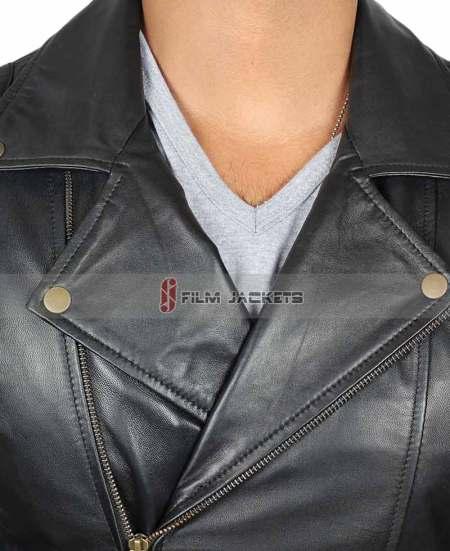 Frisco Asymmetrical Mens Black Leather Motorcycle Jacket