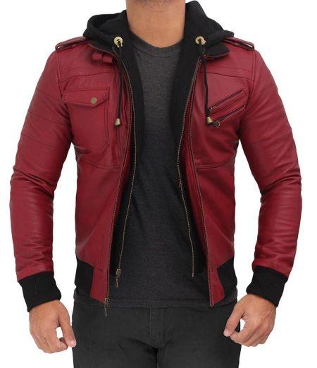 Edinburgh Maroon Hooded Leather Bomber Jacket Mens