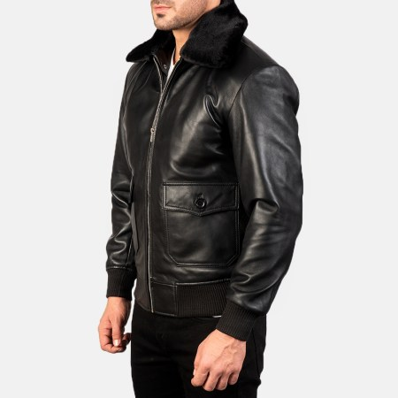 Airin G-1 Black Leather Bomber Jacket