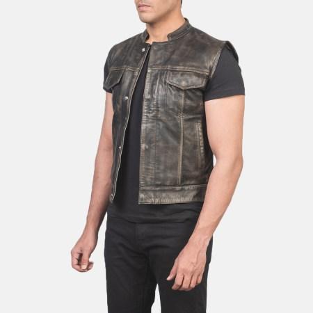 Atlas Moto Distressed Brown Leather Vest