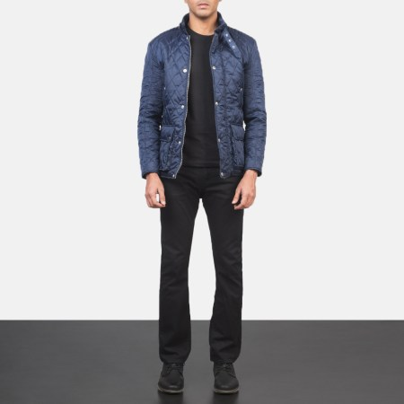 Barry Quilted Blue Windbreaker Jacket