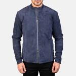 Charcoal Navy Blue Suede Biker Jacket