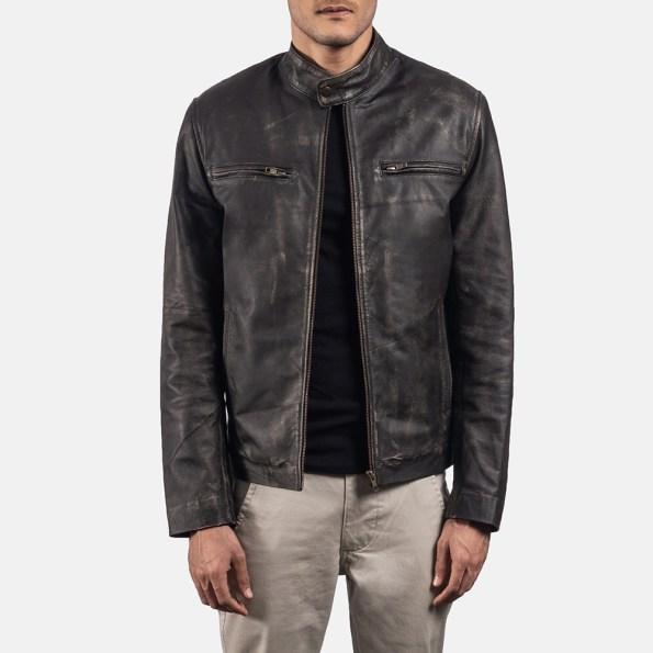 Rustic Brown Leather Biker Jacket
