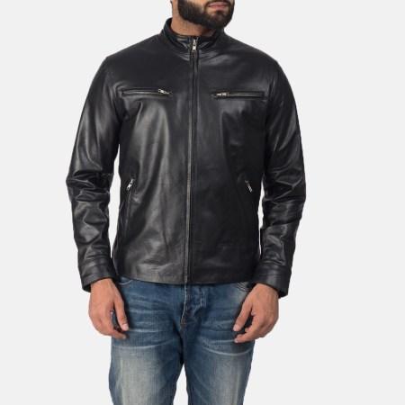 Austere Black Leather Biker Jacket