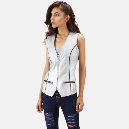 Misfit Metallic Silver Leather Vest