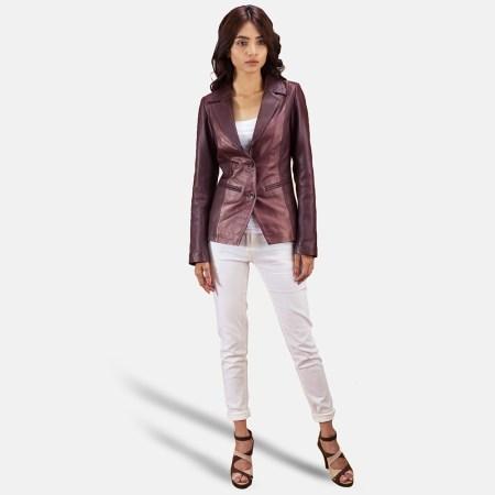 Ruby Metallic Maroon Leather Blazer