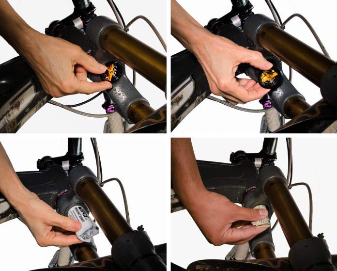 fork cork plug lets you store goodies inside your mountain bike suspension fork steerer tube
