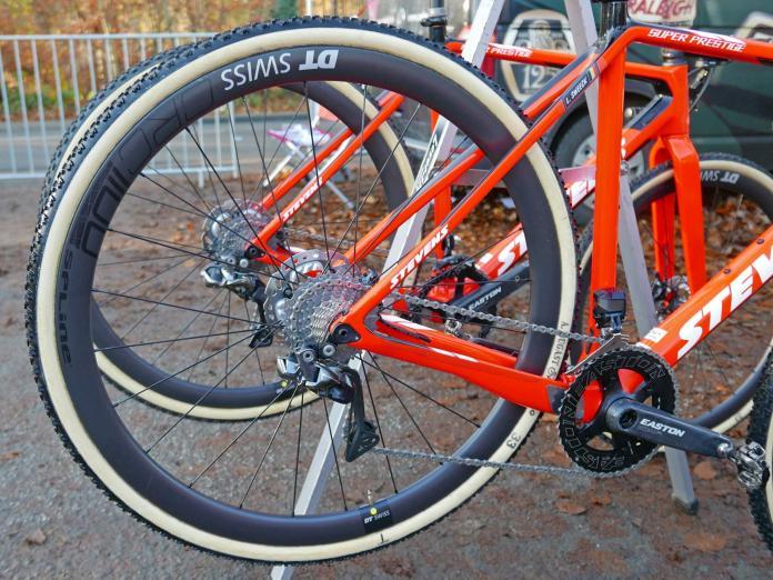 DT Swiss CRC 1100 Spline Tubular prototype disc brake carbon tubular cyclocross race wheels CX World Cup Zeven rear wheel.jpg