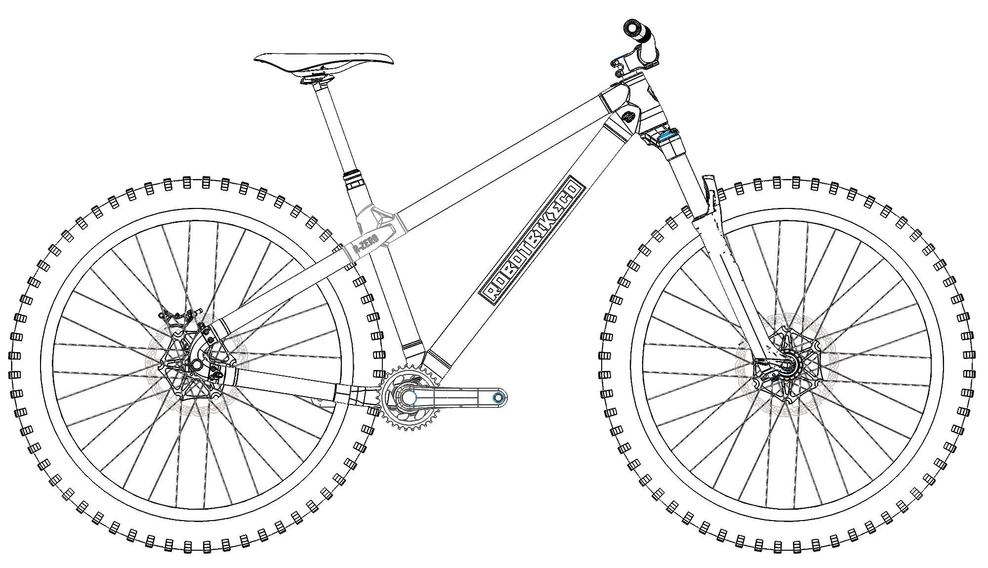 Robot Bike prints R-Zero custom ti & carbon trail hardtail