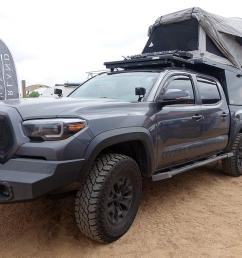 expedition portal overland toyota tacoma truck with offroad gear from outdoor retailer show summer 2019 [ 1200 x 800 Pixel ]