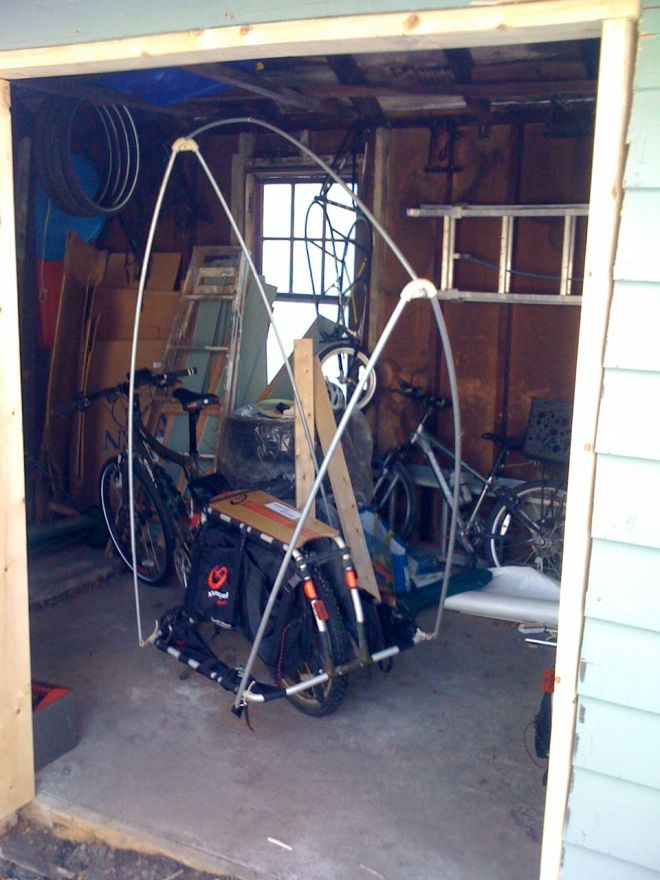 The pup tent frame.