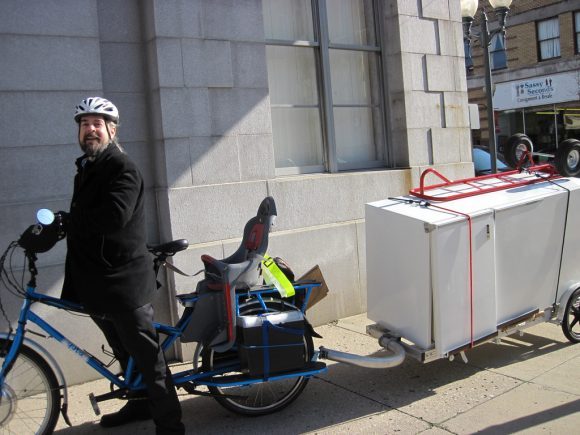 Fridge on a bike trailer