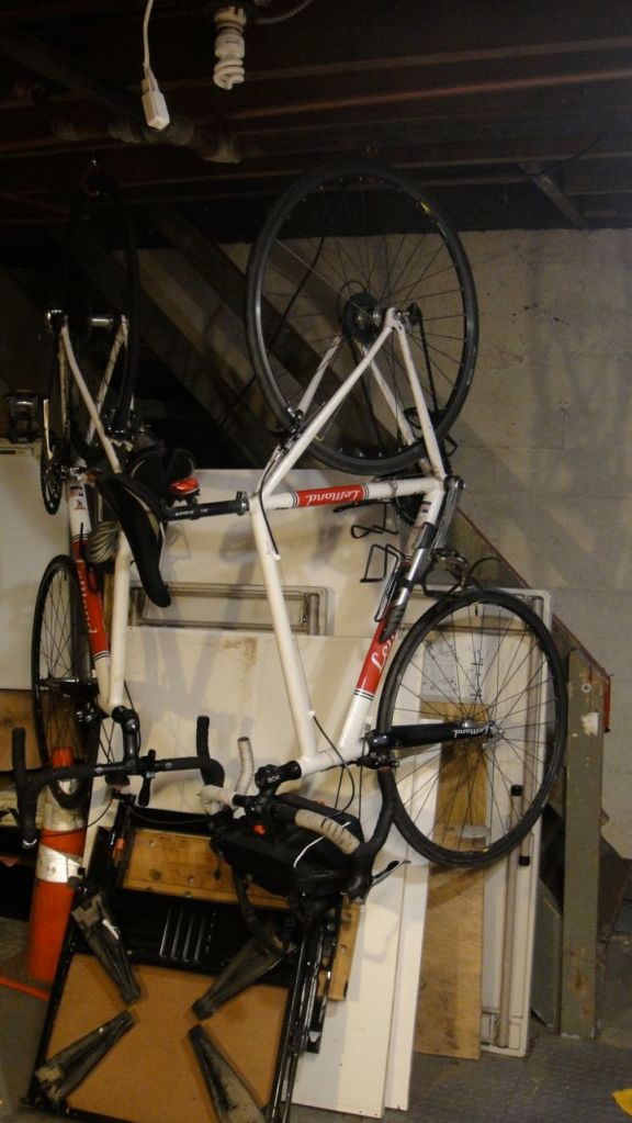 The Clarkbergs have two nice his and hers road bikes in the basement. One reason they are in the basement is that they are so light it's easy to carry them up and down the basement stairs. Another reason they are in the basement is that they are recreation-only vehicles that my wife and I rarely use. I think we only took them out once last summer. I drive my cargo bike so often for utilitarian purposes that the thought of riding my road bike for recreation doesn't appeal to me. I mean, how often do you drive around your car for recreation?