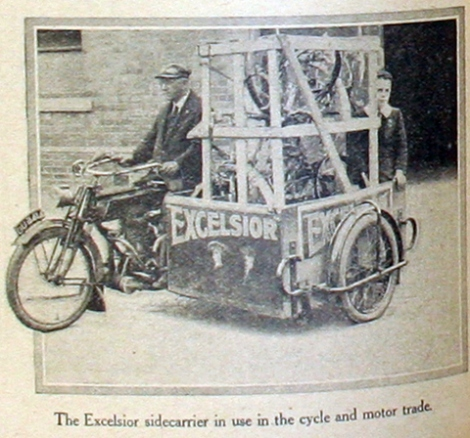 """""""The Excelsior 'sidecarrier' illustrated below appears to be transporting bicycle parts."""" Photo from http://oldbike.eu."""