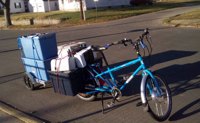 Hauling a large load of e-waste by e-bike