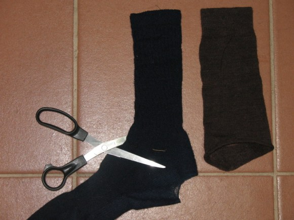 Turning an old sock into a sleeve extender for winter bike commuting