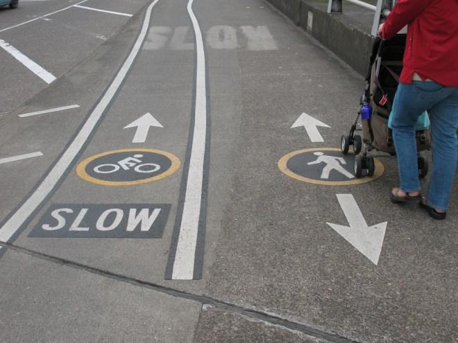 marking lanes for shared bike / pedestrian sidewalk