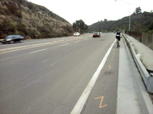 Montezuma Road Today. Riders forced to deal with 50 mph+ traffic. Photo: Randy Van Vleck