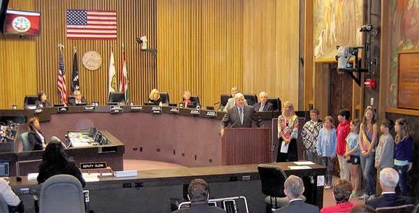 The chambers for the San Diego Board of Supervisors at the CAC. The students were really impressed. Photo: Kelly Cummings