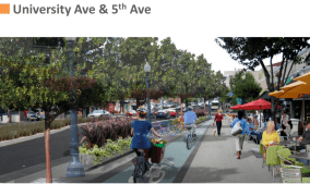 University Avenue in the future could actually be a truly multi-modal street. Photo via SANDAG. Tip: show the people's faces instead of their behinds - much more engaging