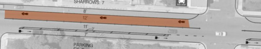 Red area shows a 'sharrow'