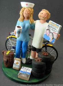 Custom bicycle wedding cake topper by magicmud.com