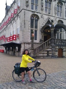 Katherine Widing, travel author, on a bike tour in The Netherlands with her bike.