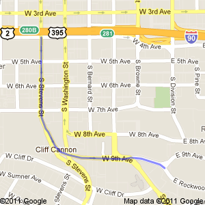 Google map showing the route south on Stevens, east on 9th, in Spokane, WA.