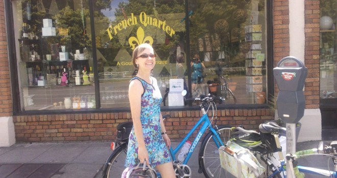 Betsy Lawrence in a Nuu-Muu--a really cute dress for riding your bike, running, using as a swimsuit cover, wearing after yoga--you name it!