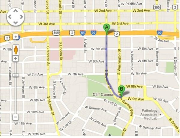Map of a portion of South Stevens Street, Spokane, WA