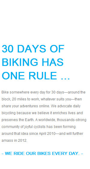 The one rule of 30 Days of Biking