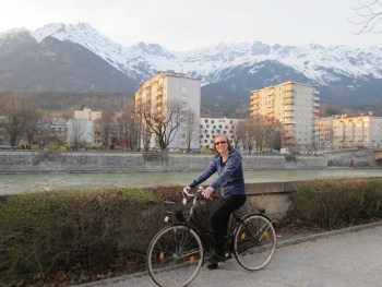 Betsy Lawrence on a bike in Austria, March 2012