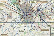 Image of SmartRoutes 2010 project map showing bike/pedestrian projects in Spokane Count, Spokane Regional Transportation Council