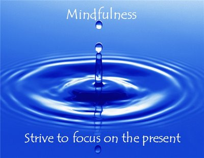 Mindfulness: text with picture of drop falling into still blue water