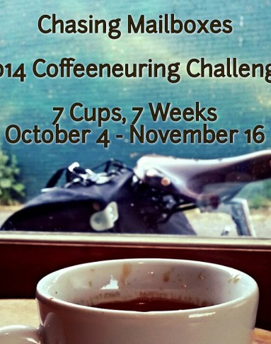 Coffeeneuring: Bicycling plus coffee = the perfect challenge. Image: Coffee cup in foreground, bike saddle/bad behind it.