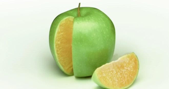 Green apple on the outside, orange sections on the inside