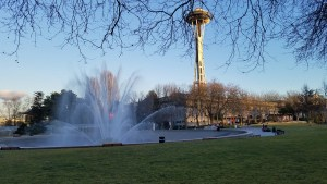 Fountain in the foreground, Space Needle in the background.