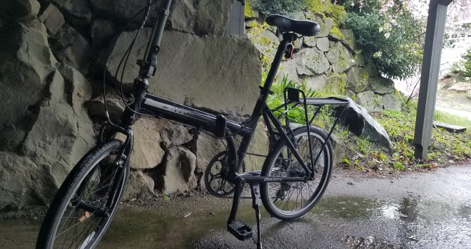 Small black folding bike in front of a rock wall, sitting on wet cement. A few plants visible in the background.
